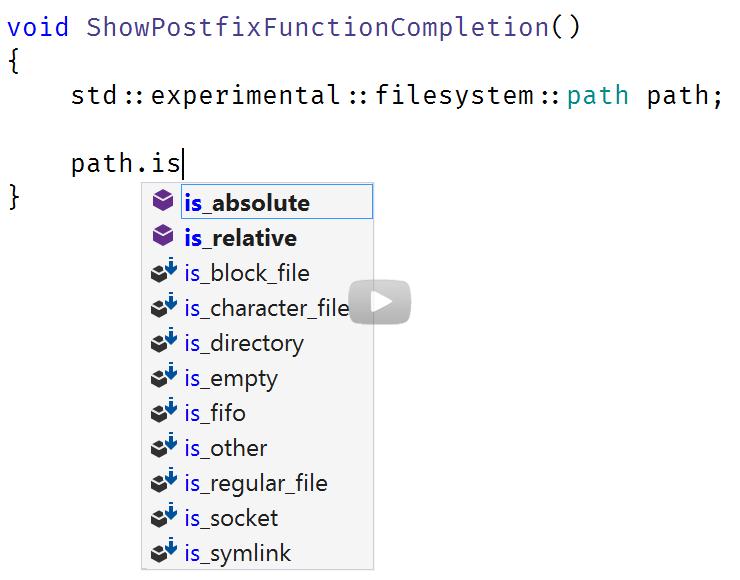 C++ postfix completion