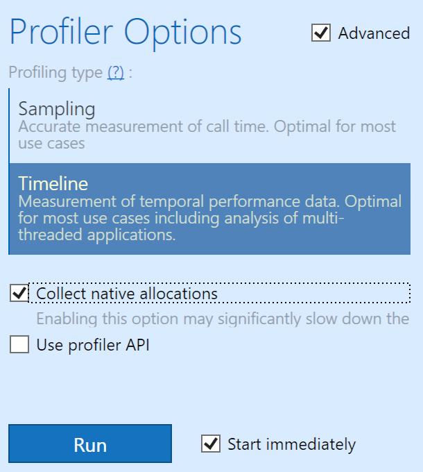 dotTrace native allocation option