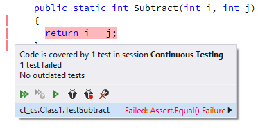 Continuous Testing details popup