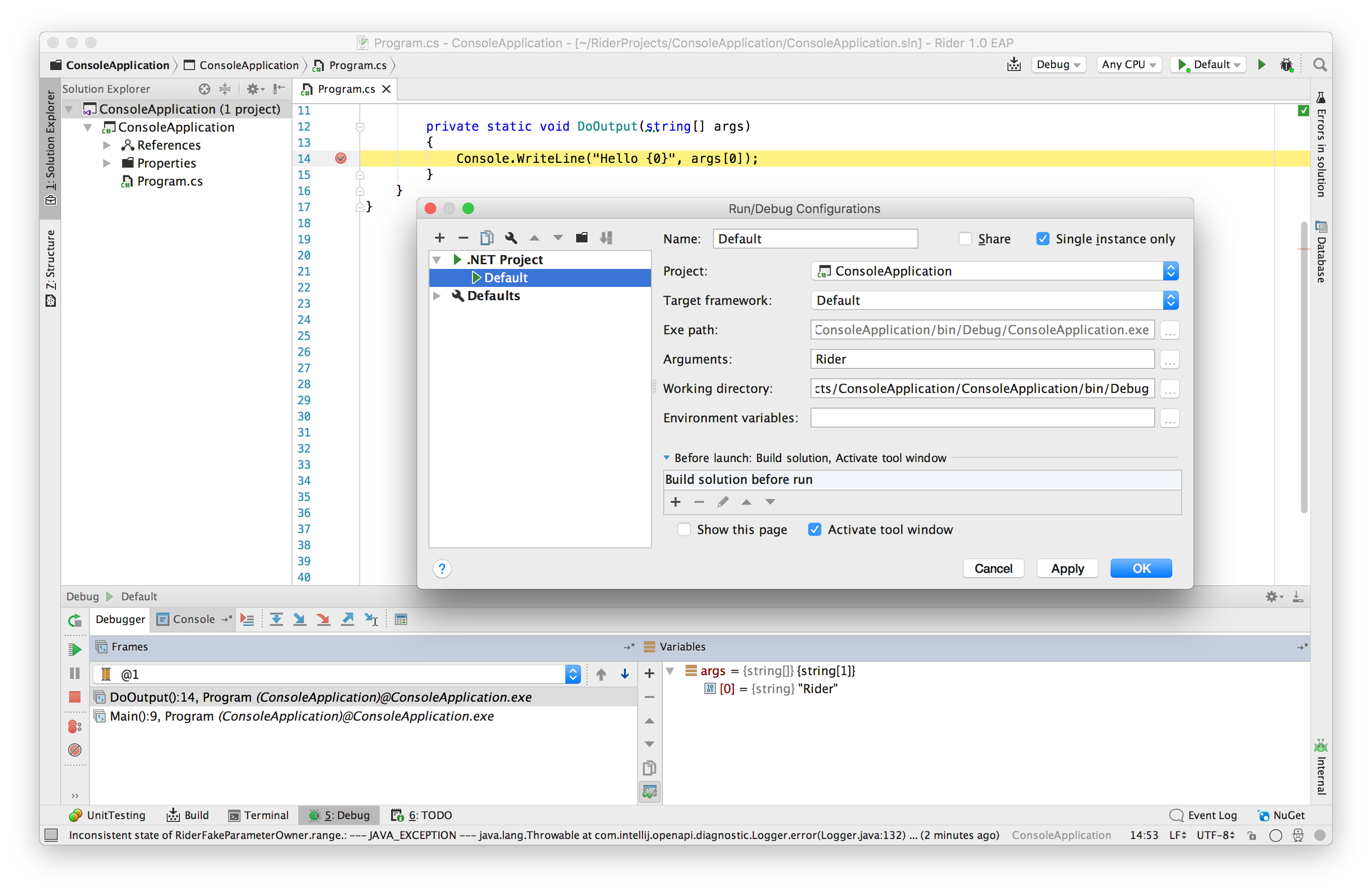 Debug configuration dialog open with debugger running