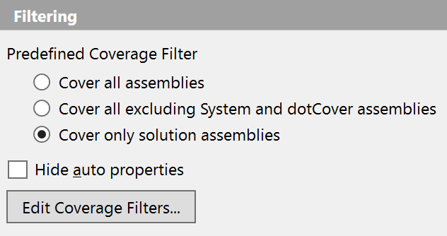dotCover Filters option page