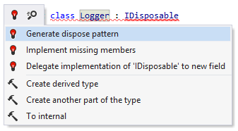 A quick-fix that helps implement a dispose pattern for IDisposable