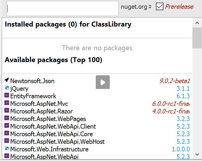 NuGet tool window
