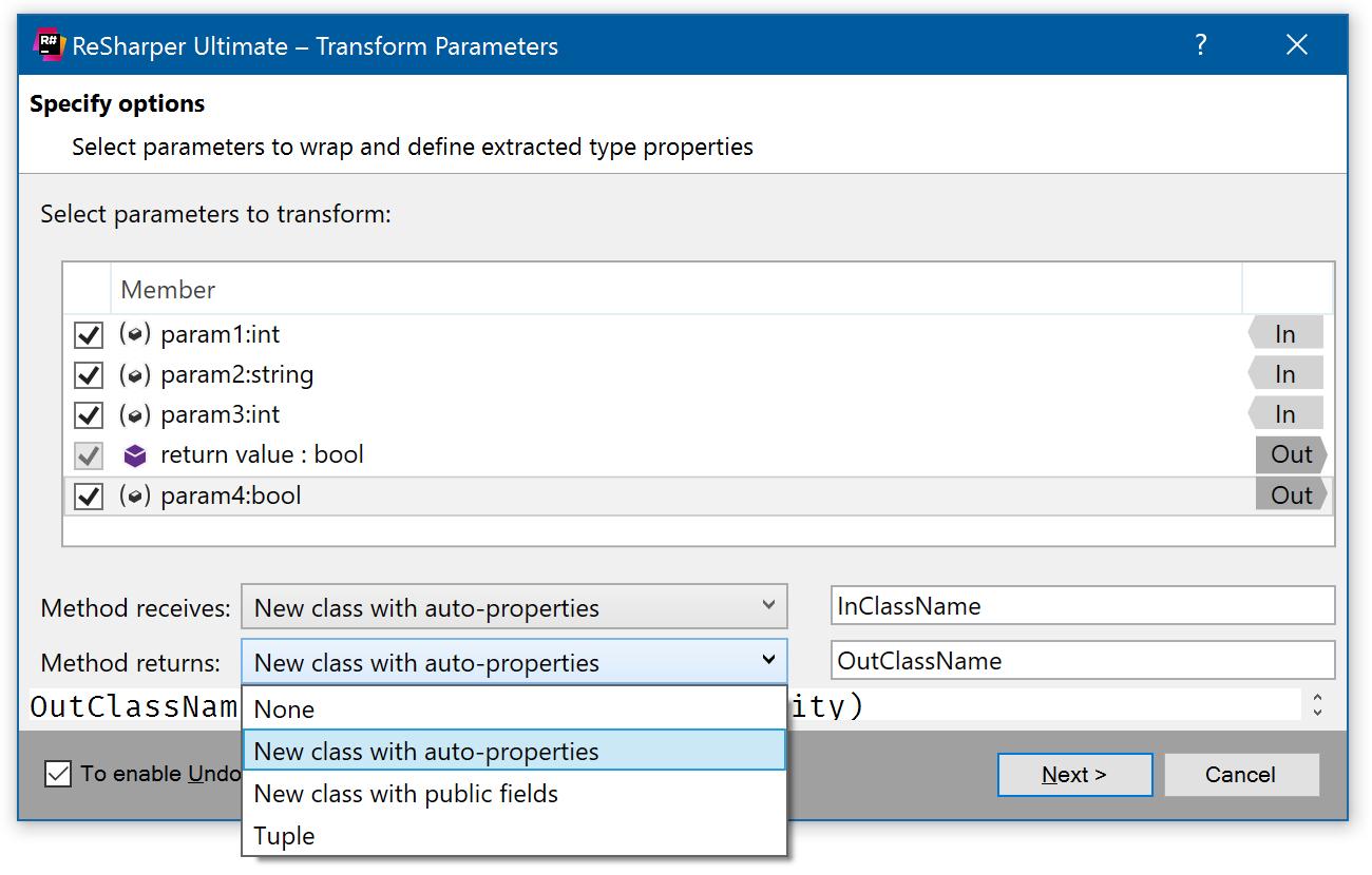 Transform Parameters refactoring dialog