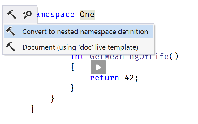 Convert to nested namespaces context action