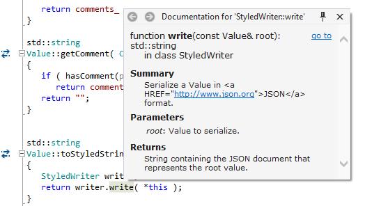 Improved Quick Doc in ReSharper C++ 2016.3