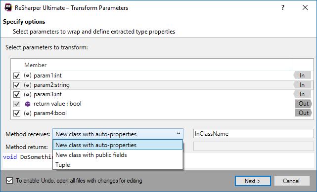Transform Parameters refactoring in ReSharper 2016.3