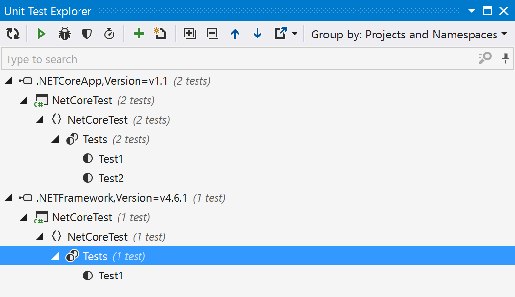 Unit test explorer showing multiple target frameworks