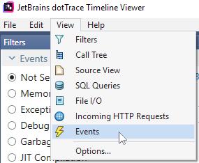 Open Events window in Timeline Viewer