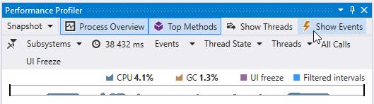 Open Events window in Visual Studio