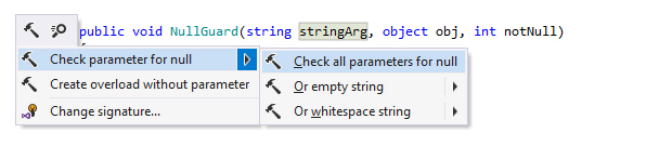 Checking parameters for null