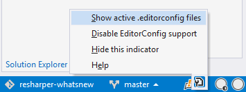 EditorConfig indicator in the status bar