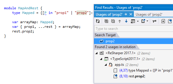 Finding usages of a symbol in TypeScript 2.1