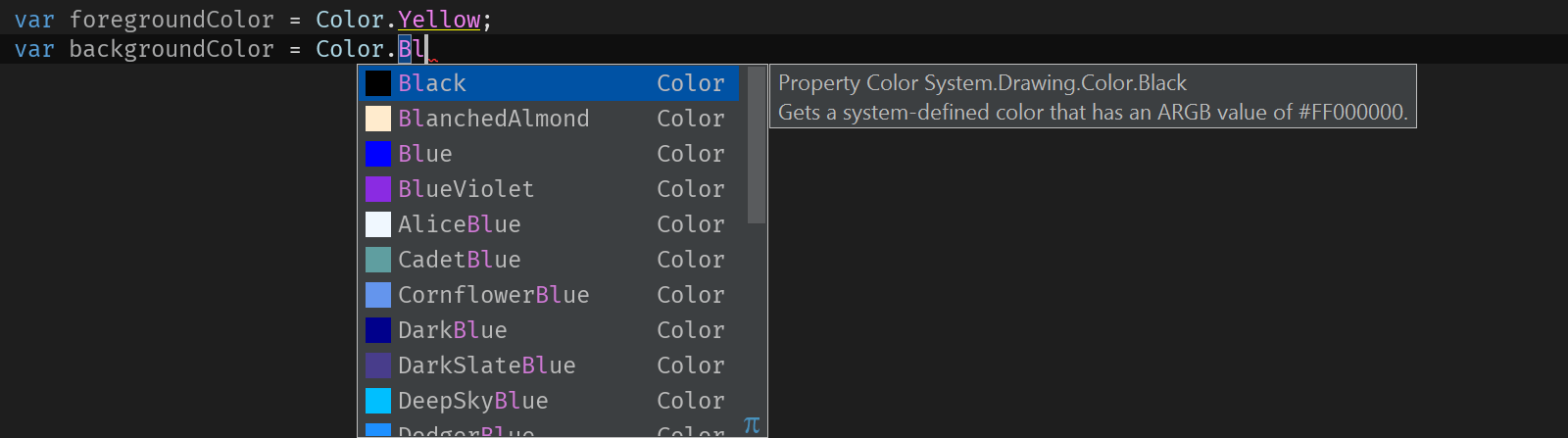 Code completion for colors