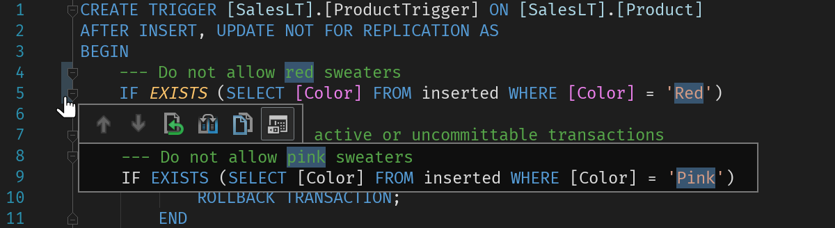 Database editor inline diff