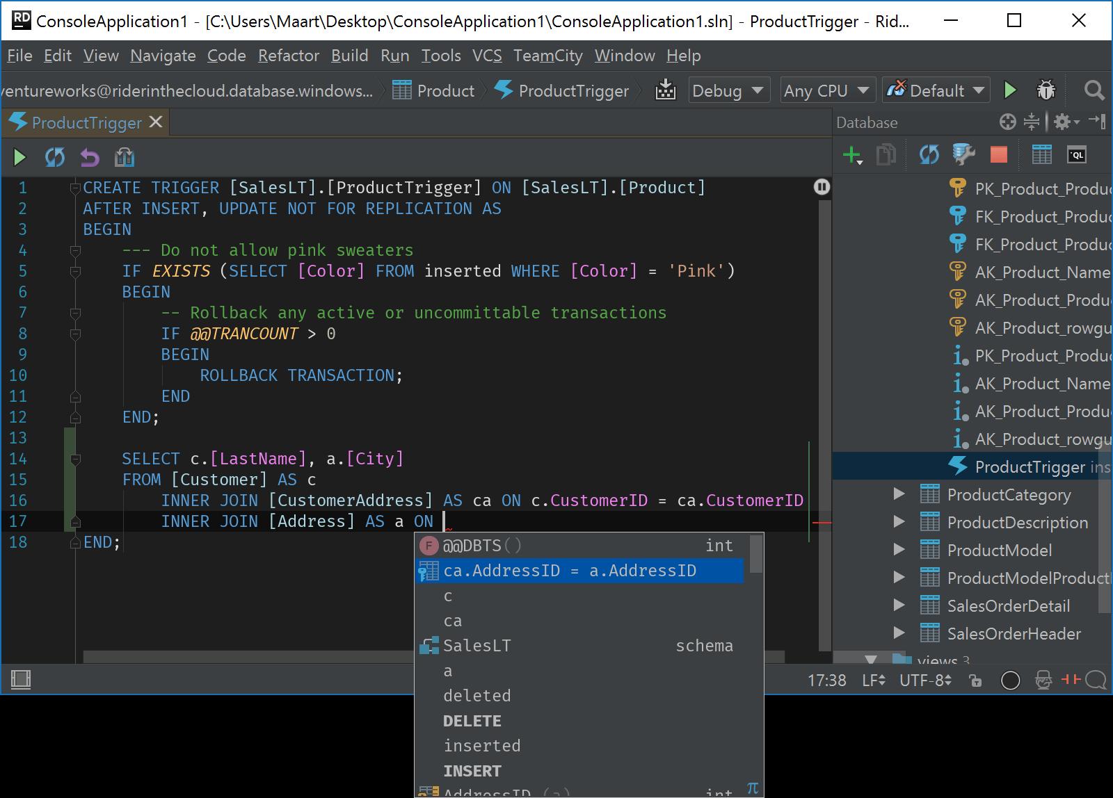 Edit database trigger in Rider
