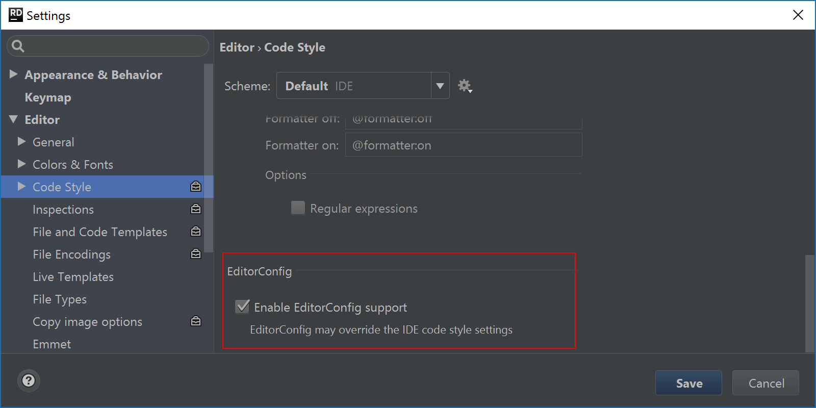 EditorConfig support in Rider