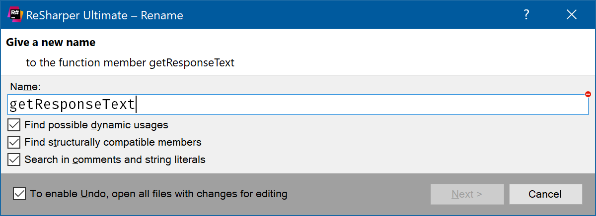 Find possible dynamic usages checkbox in rename dialog