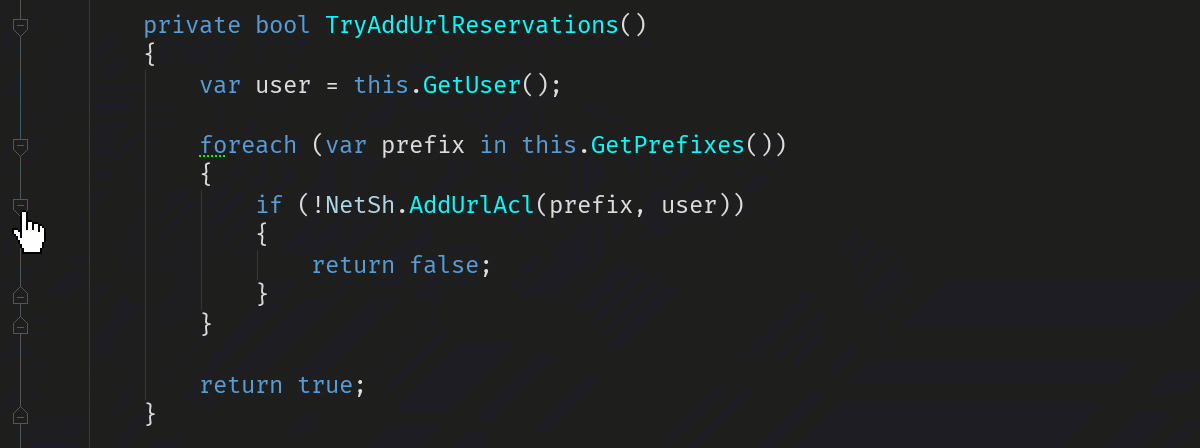 Folding code in the editor