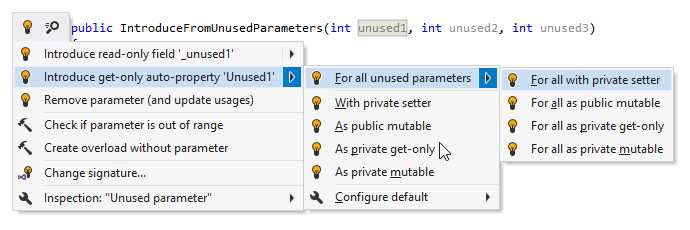 Introduce field or auto-property for all unused parameteres