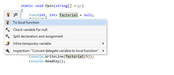 Convert to local function quick-fix