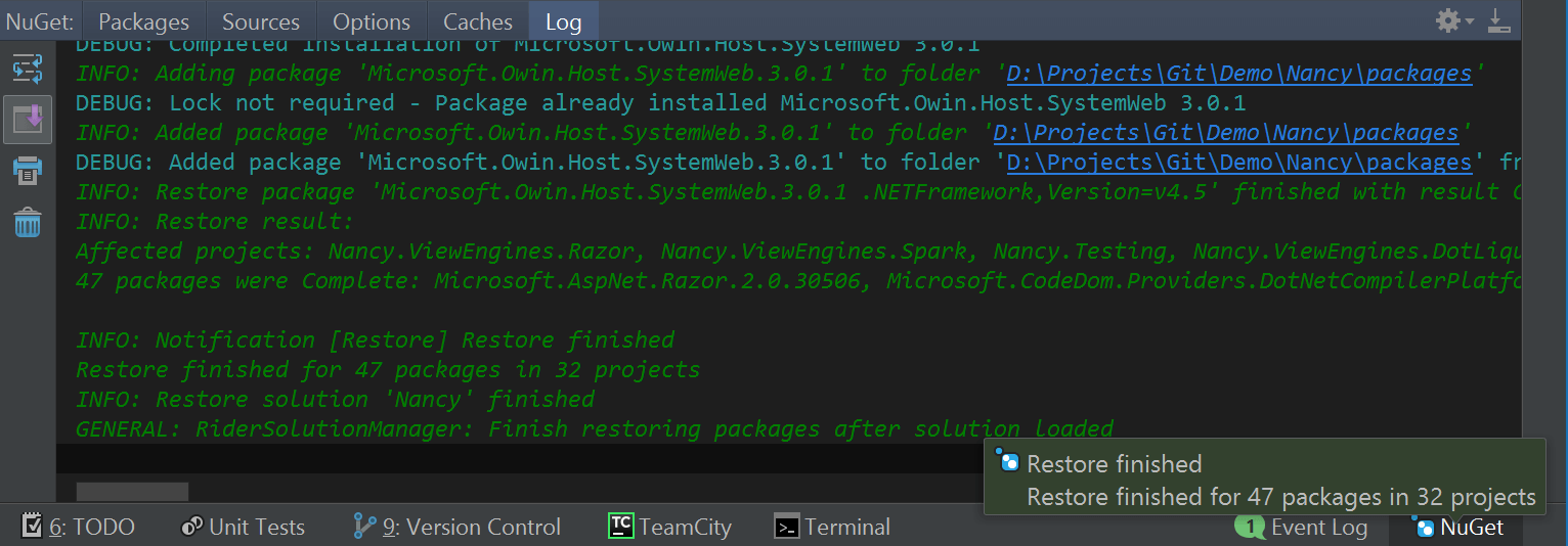 NuGet package restore log in Rider