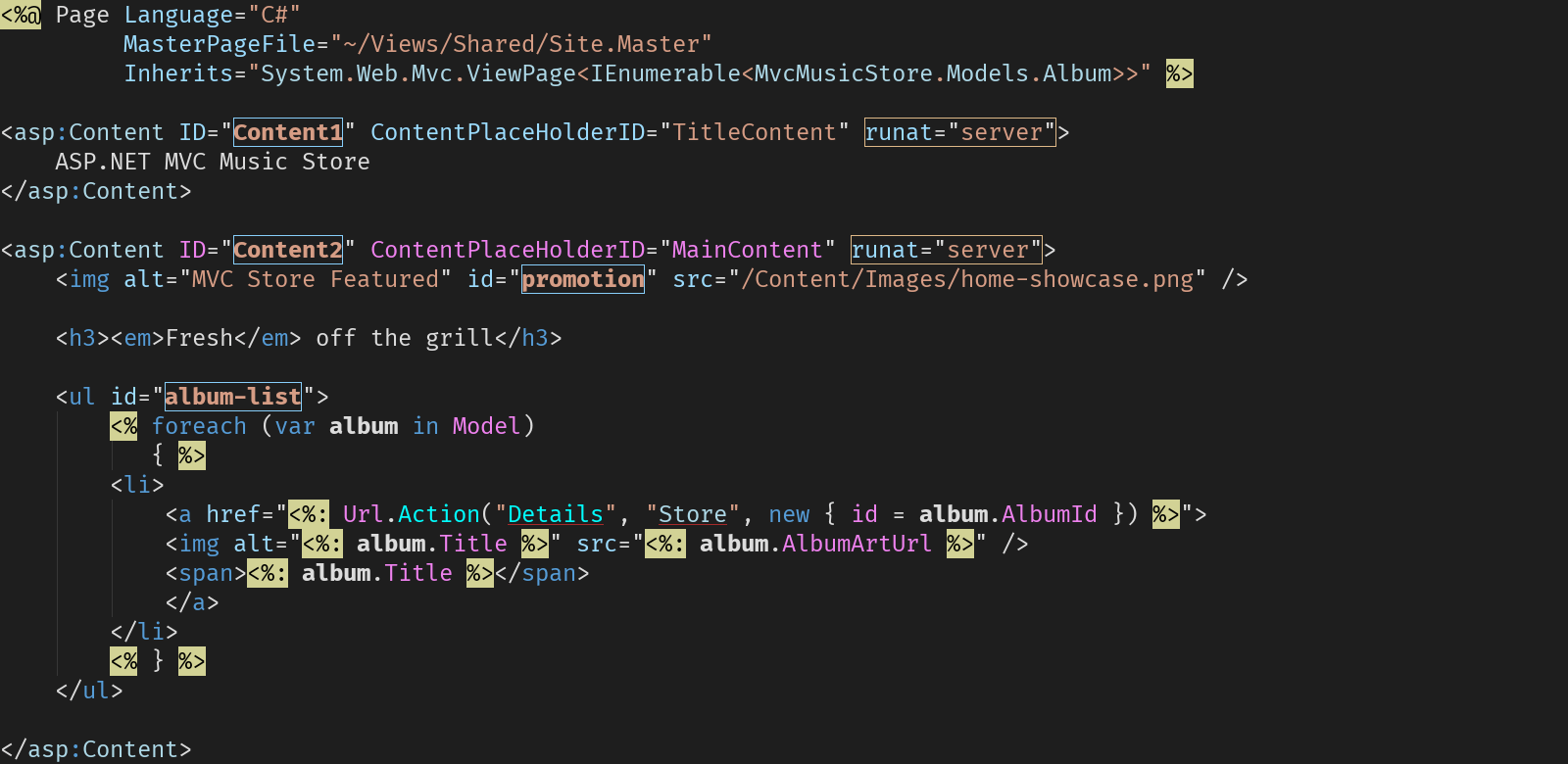 Syntax highlighting for ASPX and Razor
