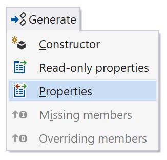 TypeScript generate menu