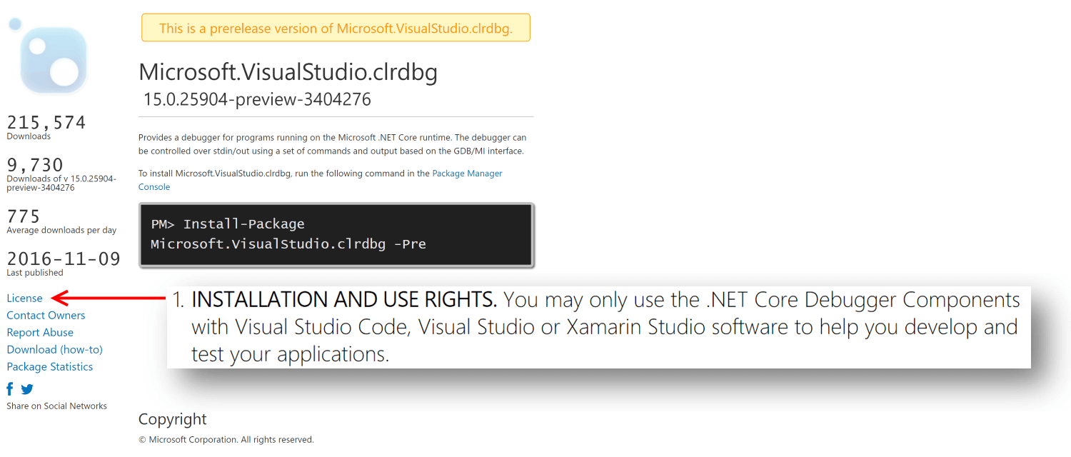 CLR debugger usage rights limited to Microsoft IDE's only