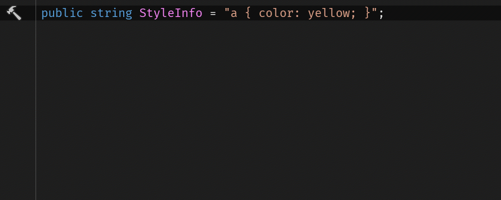 Inject CSS into C# string literal