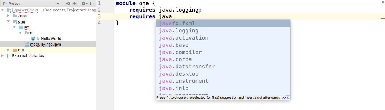 Code completion in module-info.java
