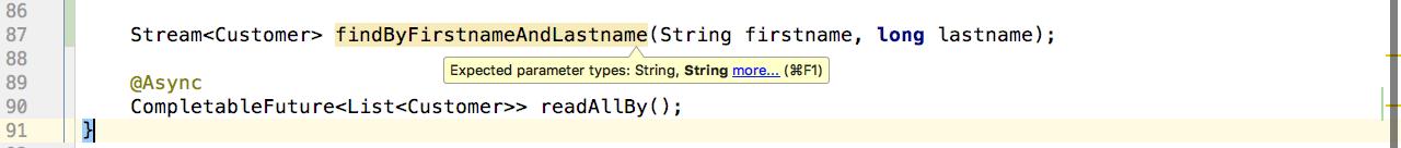 Incorrect parameter types