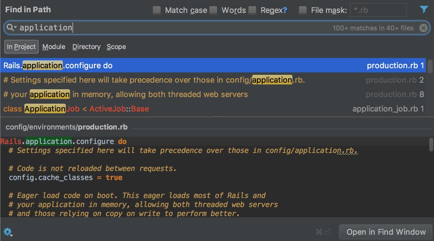 RubyMine find in path dialog