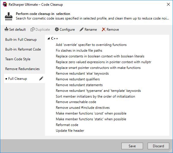 C++ code cleanup tasks