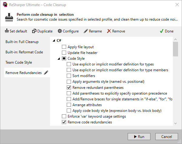 Code Cleanup dialog box