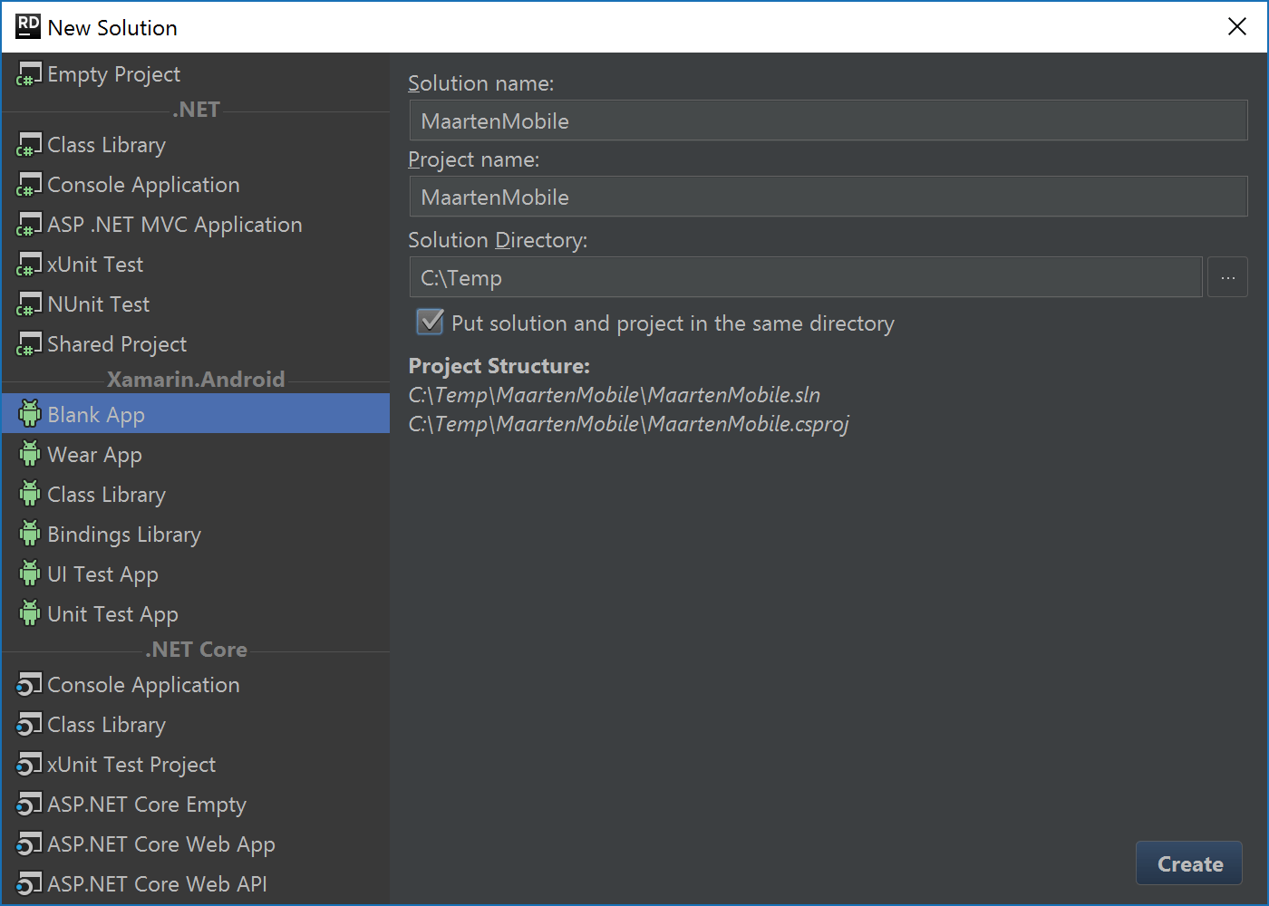 Create Xamarin Android project in Rider