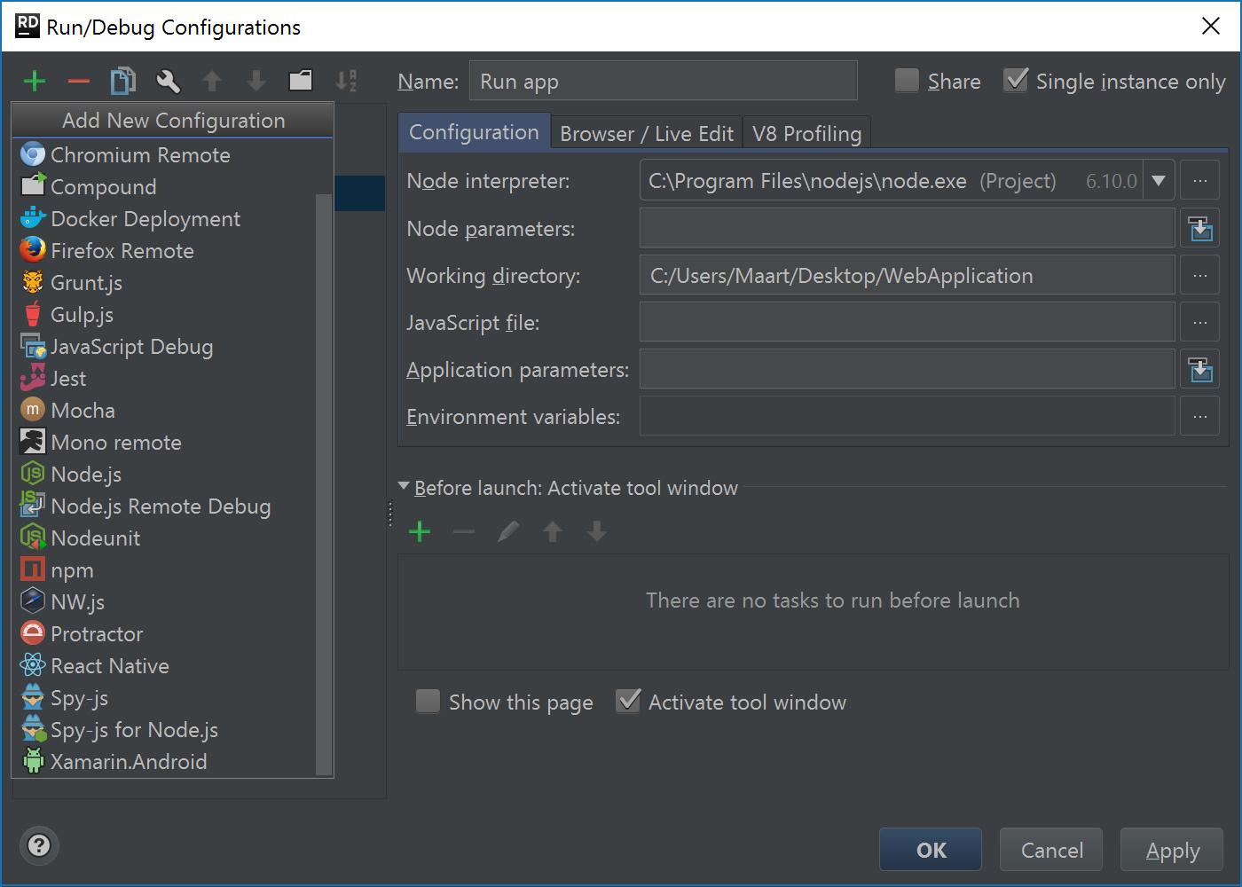 Various Node.js run configurations and frameworks