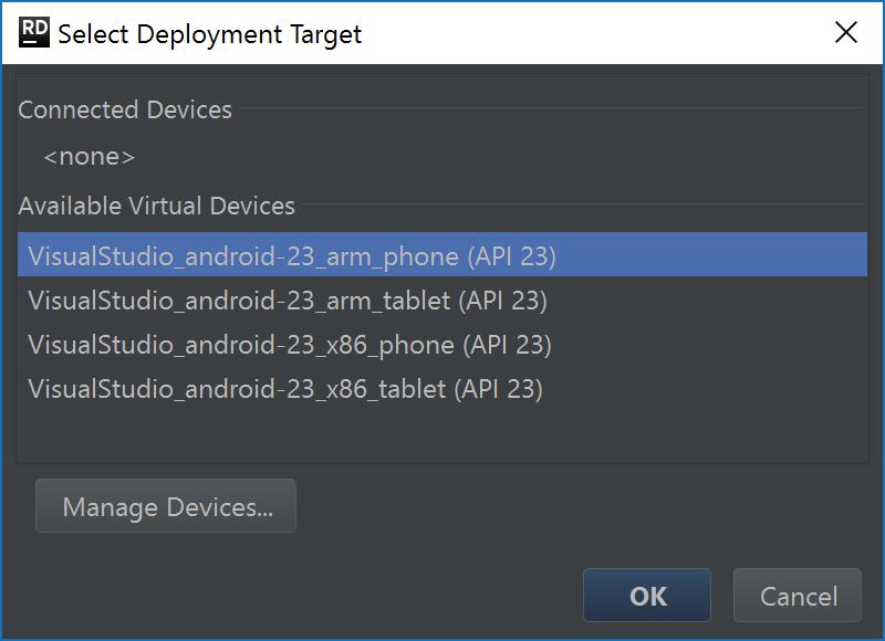 Select target device (or emulator)