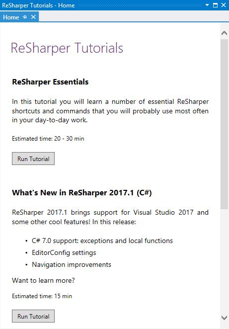 ReSharper Tutorials Home page