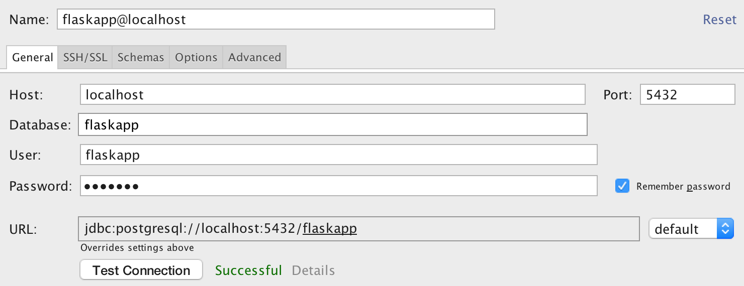 PostgreSQL connection settings