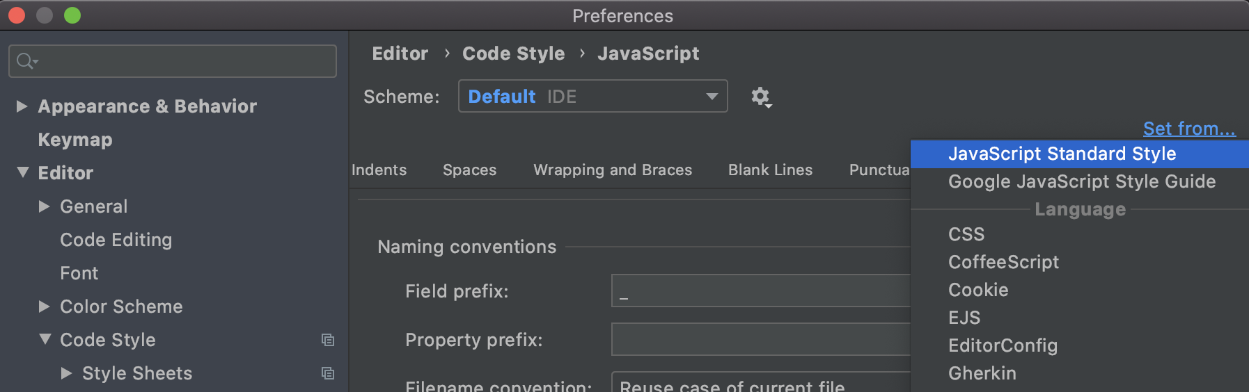 select-js-standard-style-in-preferences