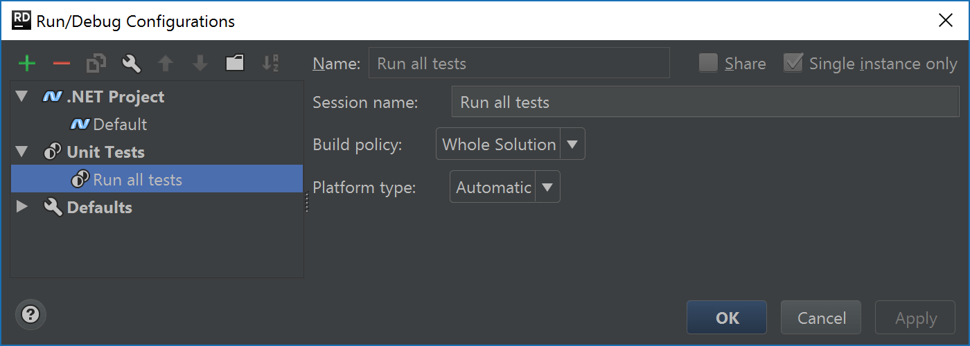 Run/debug configuration for tests