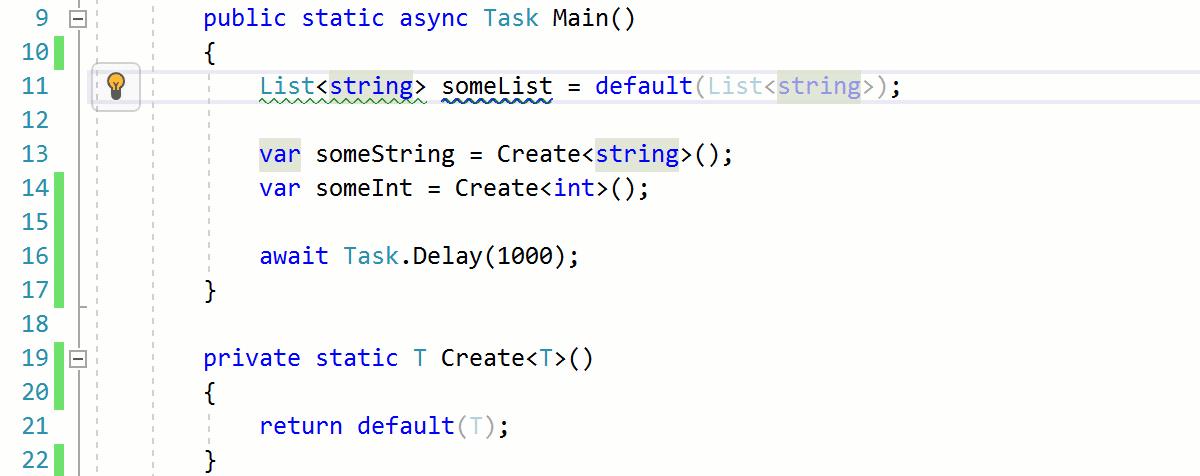 C# 7.1 default literal support in ReSharper