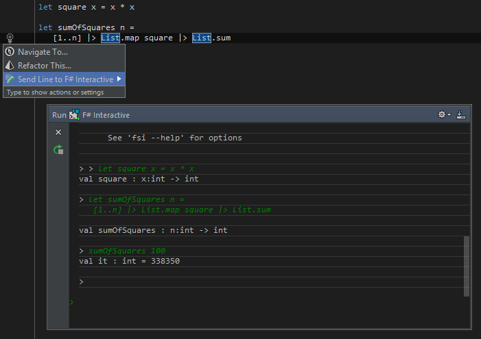 F# Interactive window and editor actions