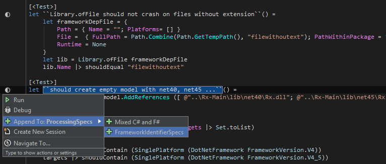 Rider discovers and runs F# unit tests