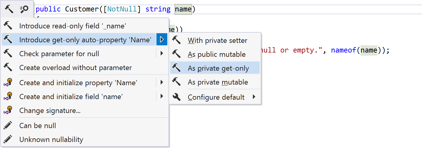 Options for introduce auto-property context action