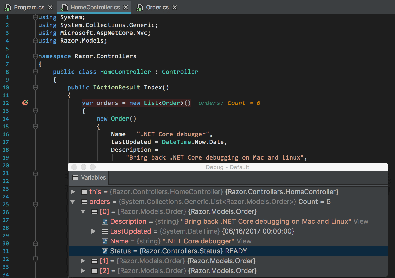 .NET Core debugging on Mac and Linux is back