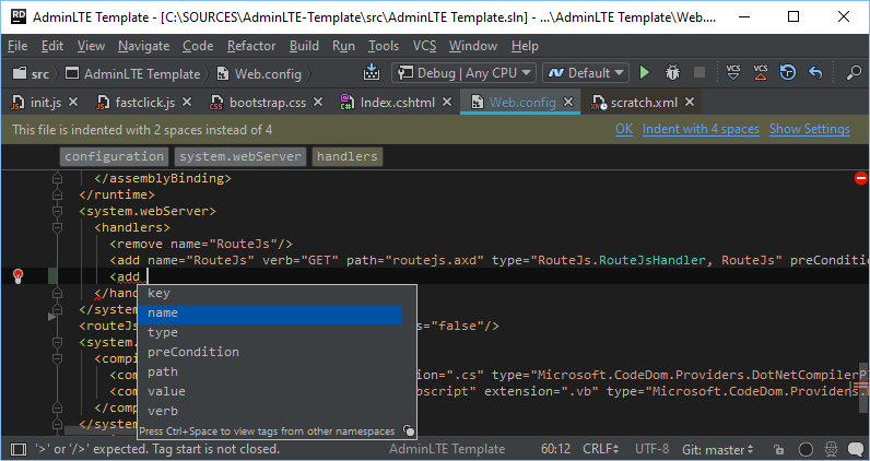 IntelliSense in web.config