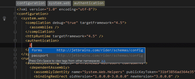 Required items auto-inserted in web.config