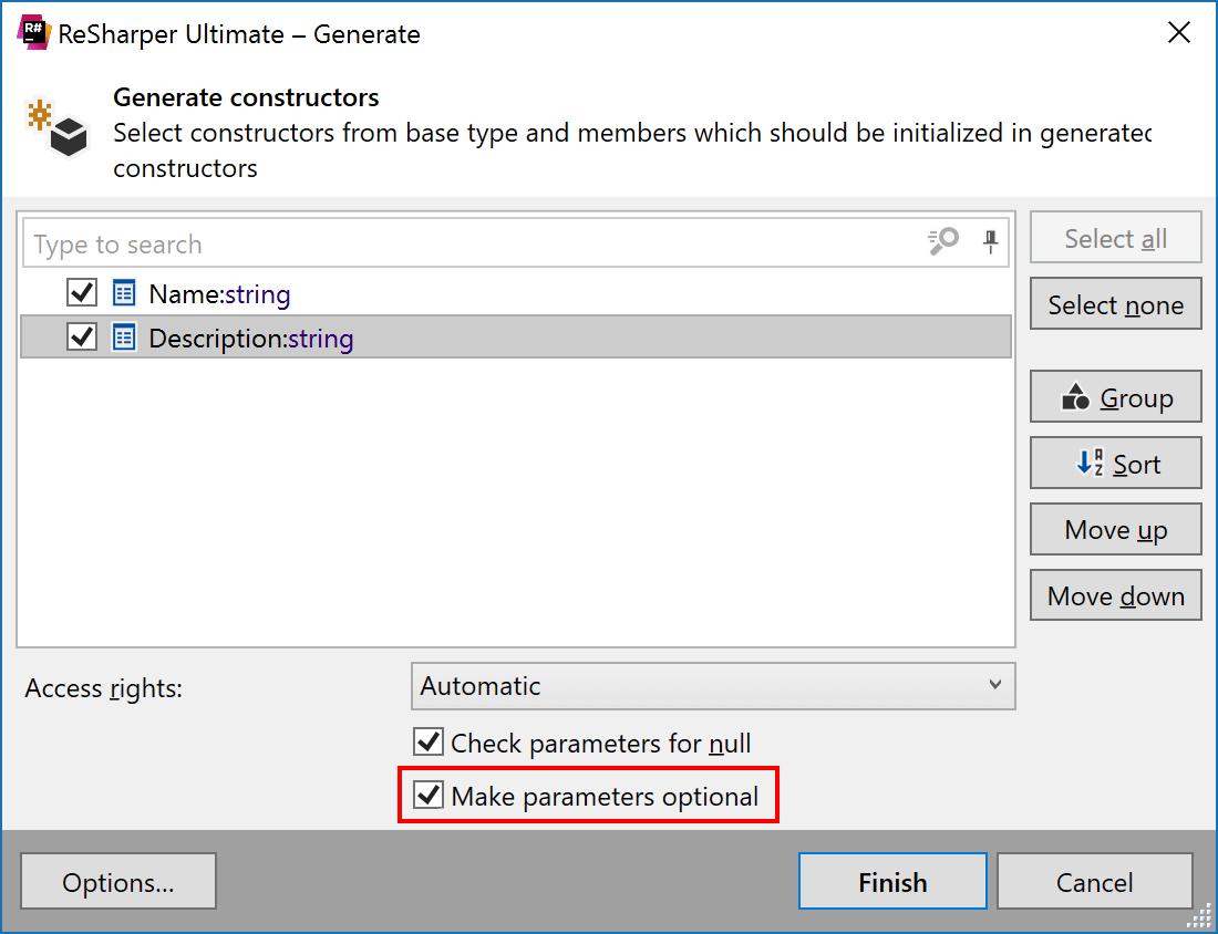 Make parameters optional